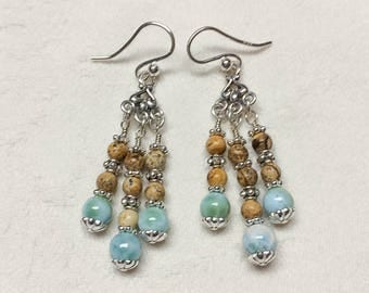 Caribbean Larimar, Picture Jasper and Sterling Silver Earrings