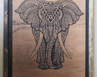 Highly detailed Wooden Elephnat Engraving 16x20