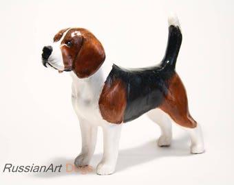 Beagle statue, figurine handmade of ceramic, statuette