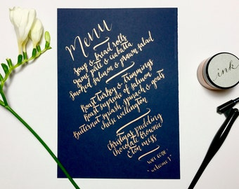 Wedding navy and copper hand drawn menus, table decor, typography, calligraphy, elegant