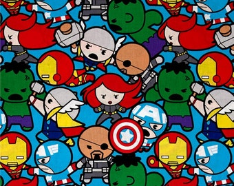 Marvel Avengers Superhero Kawaii Superheroes All In The Pack Character Cotton Fabric by Springs Creative Iron Man Hulk Thor Captain America