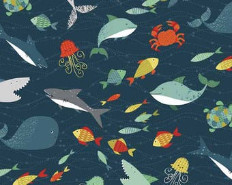 Sharks Fish Deep Sea Jellyfish Whale Shark Ocean Pirate Cotton Fabric from the Pirates Collection 1674/1 by Makower RARE Discontinued
