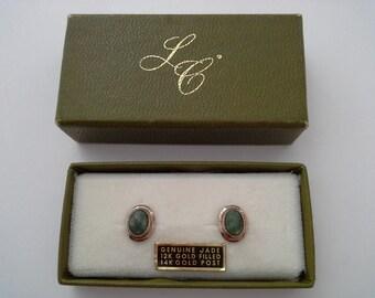 Vintage Jade Earrings, Sarah Coventry Box, Jade Stud Earrings, Jade Studs, Jade Pierced Earrings, Jade Gold Filled, Jade Gold Earrings