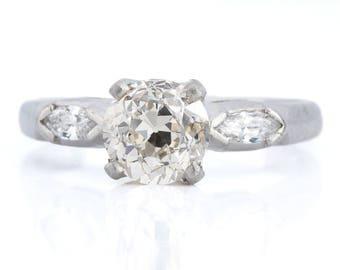 Vintage diamond engagement ring 1.14 Old European Diamond   Platinum   Art Deco   GCAL certificate independent report
