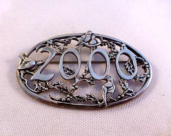 de Matteo Sterling Large 2000 Pin W/ Birds & Flowers