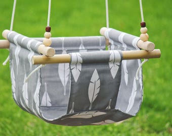 Indoor swing, Toddler swing, baby swing, outdoor swing, hammock swing, fabric swing, baby gift, baby shower gift, feather fabric
