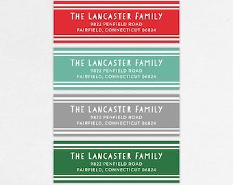 Holiday Return Address Label, Christmas Return Address Labels, Holiday Address Stickers, Christmas Address Stickers, Printed, Stripes, Fun