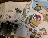 Ephemera grab bag, 40+ vintage paper pieces, 1800s-1900s, photos, book pages, paper dolls, sewing notions and more