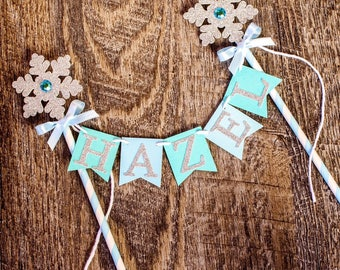 Snowflake cake banner, PERSONALIZED, Frozen Inspired, Cake topper, winter onederland