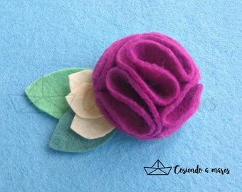 "Felt ""pompon flower"" brooch"