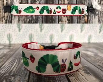 Hungry hungry caterpillar inspired bracelet, kids i.d bracelet, personalize