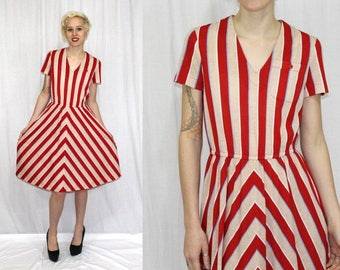 Vintage 70s Red Tan CHEVRON Stripe Full Skirt Hippie Boho Retro Midi Dress S