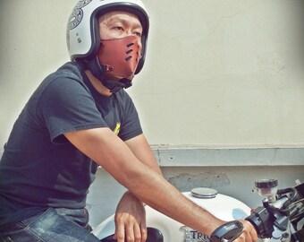 The raw custom moto mask rider : half face cafe racer mask (Masque moto cuir) Dark Brown