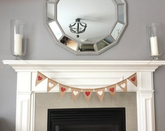 Hearts banner - Love banner- red and white hearts