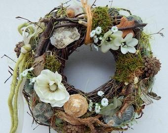 Natural wreath wreath door wreath wreaths of green and white Gartendeko door jewelry mother's day gift birthday Moss flower arrangement flowers silk flowers