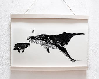 Linocut humpback whale and Manatee. Poster A3 | Poster black white