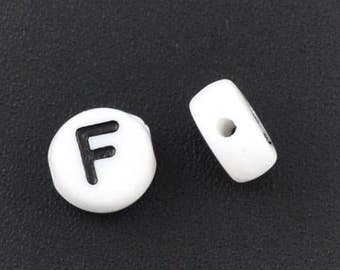10 Letter F Beads 7mm, Black & White Alphabet Beads, Acrylic letter beads, Spacer Beads 7mm, 8333, 502a
