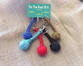 "4"" Paracord Monkey Fist Keychain  (1"" Chrome Steel Ball Core)"