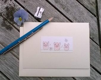 Greeting Cards Handmade Pigs