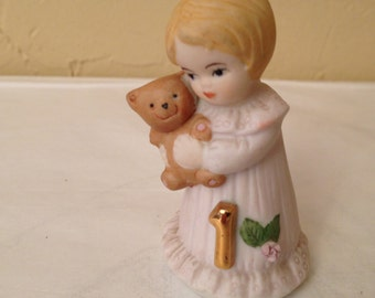 """Vintage  birthday girl for First  Birthday """"Growing Up"""" by Enesco-1981- Figurine-Cake Topper"""