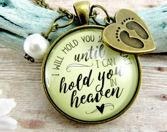 Baby Loss Necklace I Will Hold You In My Heart Until I Hold You in Heaven Miscarriage Jewelry Infant Loss Jewelry Angel Charm Memorial Gift