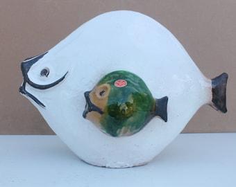Italian  Art Pottery Gli Etruschi Fish Sculpture .