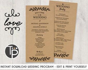WEDDING PROGRAM, Instant Download, Kraft Wedding Program, Kraft Paper Wedding, Rustic Wedding Program, WEDDING Printable, Edit yourself