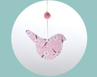 Decorative suspension pink bird - cherry blossom Collection