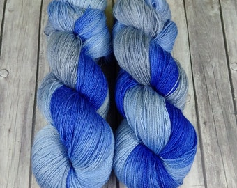 Lace Weigh Merino 2 ply , Hand Dyed Yarn, 965 yards on 4 oz skein