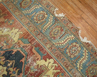 Antique Persian Heriz Karajeh Rug Size 9'2''x10'2'' Distressed