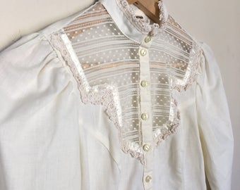 Cream Vintage Peasant Blouse w/ High Collar of Lace & Ruffles by Jessica's Gunnies