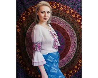 Slightly Sheer Embroidered Top // White Pink Purple // 1970's Seventies // Boho Chic Hippie Gypsy Bohemian Festival Fashion Retro