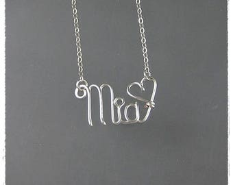 Mia Wire Name Pendant Necklace