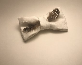 Distressed Denim with Feather Detail Bow Tie