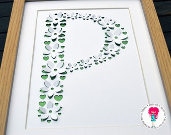 Letter P 3D flower paper cut svg / dxf / eps / files and pdf / png printable templates for hand cutting. Digital download.