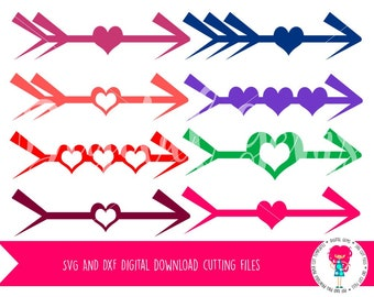 Arrows and Hearts SVG / DXF Cutting Files For Cricut Explore / Silhouette Cameo & PNG Clipart, Digital Download, Commercial Use Ok