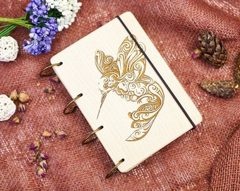 Personalised Notebook Hummingbird Custom Journal Gifts for Her Adventure Book Laser Engraved Journal Wooden Notebook Wood Cover Notebook