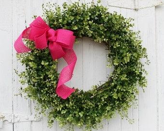 Boxwood Wreath, Farmhouse Decor, Green Wreath, Front Door Wreath, Burlap Wreath, Pink Wreath, Spring Wreath, Easter Wreath, Outdoor Wreath