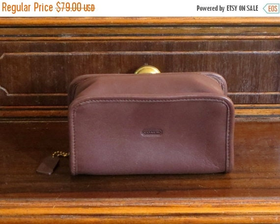 Football Days Sale Coach Cosmetic Bag In Brown Leather With Interior Mirror And Zippered Closure- EUC