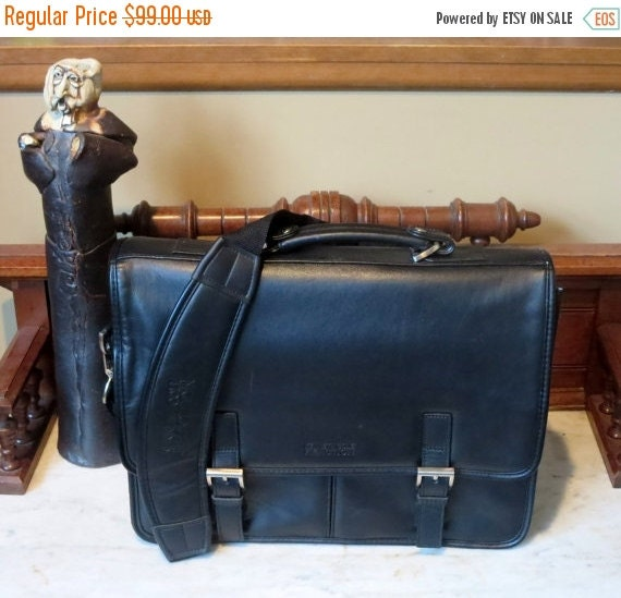 Football Days Sale Kenneth Cole Black Leather Briefcase Laptop IPod Carrier- EUC