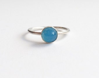 BLUE CHALCEDONY RING - Sterling Silver Blue 6mm Gemstone Ring  - Solitaire Faceted Bezel Set Stackable Ring