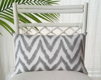 Diva Ikat Chevron Gray White Pillow Cover