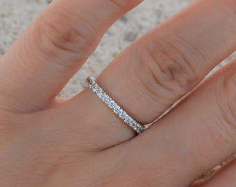 Eternity Band Ring. Sterling Silver High Shine Eternity Band. Top Quality Cz 2mm Band Ring. Silver Wedding Band Ring. Stacking Rings.