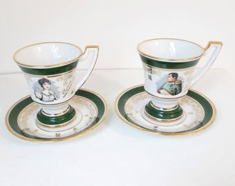 """set of 2 vintage french porcelain cups and saucers """"Napoleon and Josephine"""""""