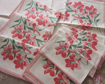 9 Pieces~Vintage 1950's Linens~Matching Set~4 Place Mats 4 Napkins 1 Runner~Unused~Pure Linen~Salmon Pink Day Lilies~Floral