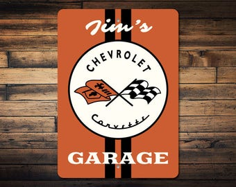 Corvette Flags Sign, Chevy Corvette Sign, Corvette Garage Sign, Corvette Lover Gift, Custom Chevy Gift - Quality Aluminum Sign ENS1002687