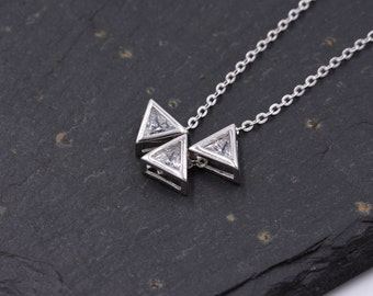 Sterling Silver Triangle Trio Tiny Pendant Necklace with Sparkly CZ Crystals 18''- Geometric Design -  z64