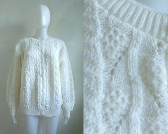 70s eyelet cardigan sweater size large, white button down womens sweater, womens jumper, 1970s minimalist acrylic sweater