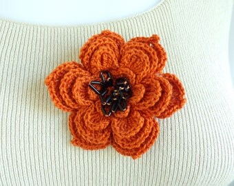 crochet flower brooch, handmade acrylic orange floral brooch, black beaded daisy pin, vintage bead brooch, costume jewelry, jewellery