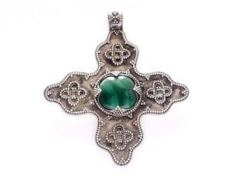 Malachite Silver Filigree Birka Cross VIKING KRISTALL Pendant